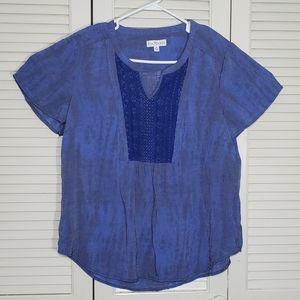 Kim rogers blouse short sleeve shirt XL